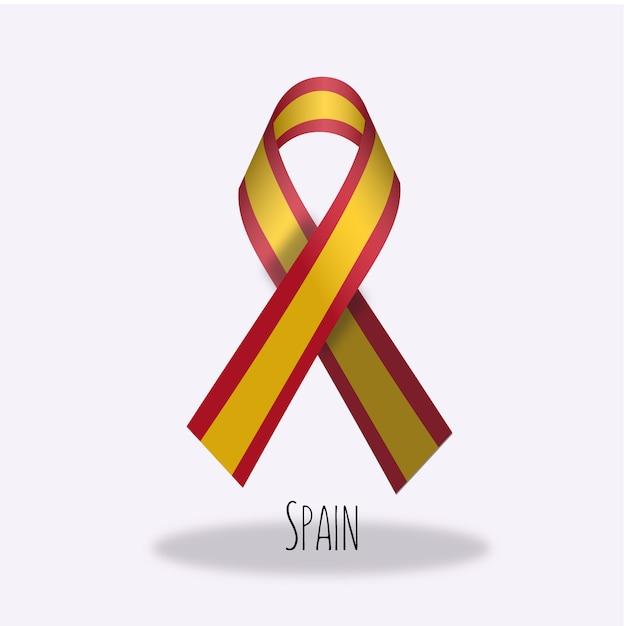 Conception du ruban du drapeau espagnol Vecteur gratuit