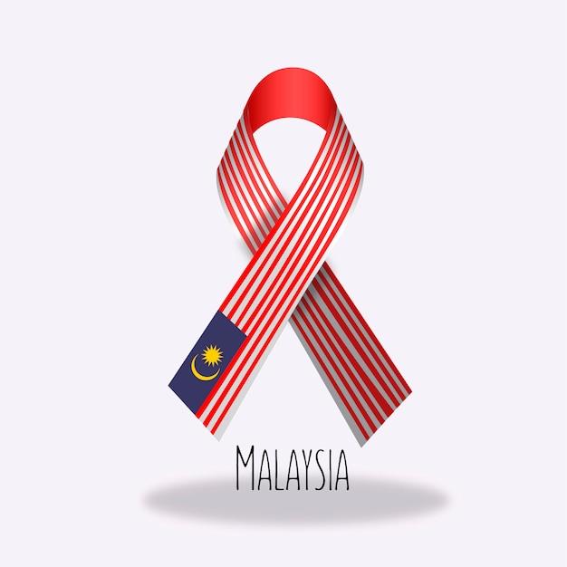 Conception du ruban du drapeau de la malaisie Vecteur gratuit