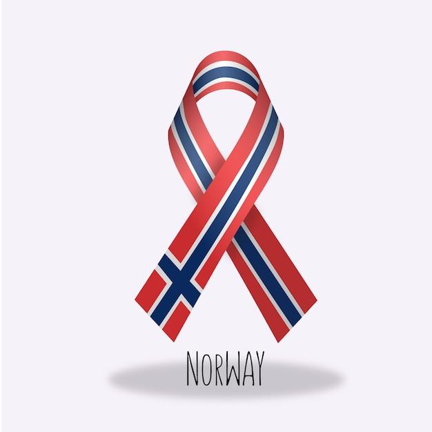 Conception du ruban du drapeau de la norvège Vecteur gratuit