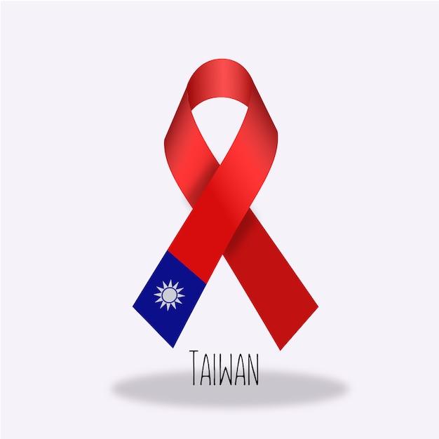 Conception du ruban du drapeau de taiwan Vecteur gratuit