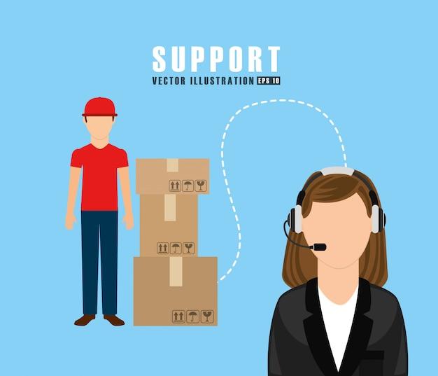 Conception du service d'assistance Vecteur gratuit