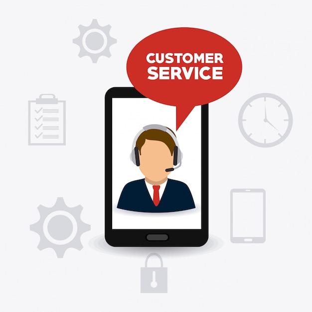 Conception du service client. Vecteur Premium