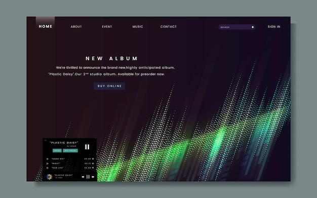 Conception du site web de la sortie de l'album Vecteur gratuit