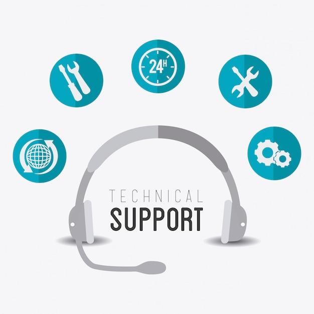 Conception du support technique. Vecteur Premium
