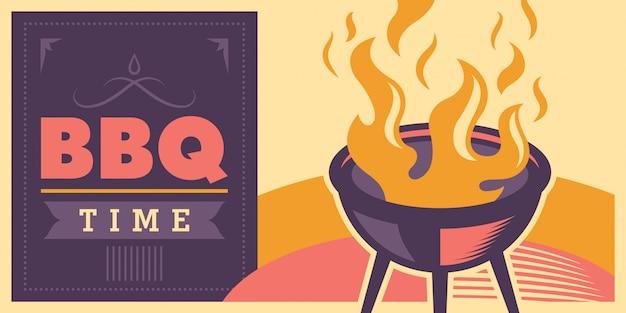 Conception du temps de barbecue Vecteur Premium