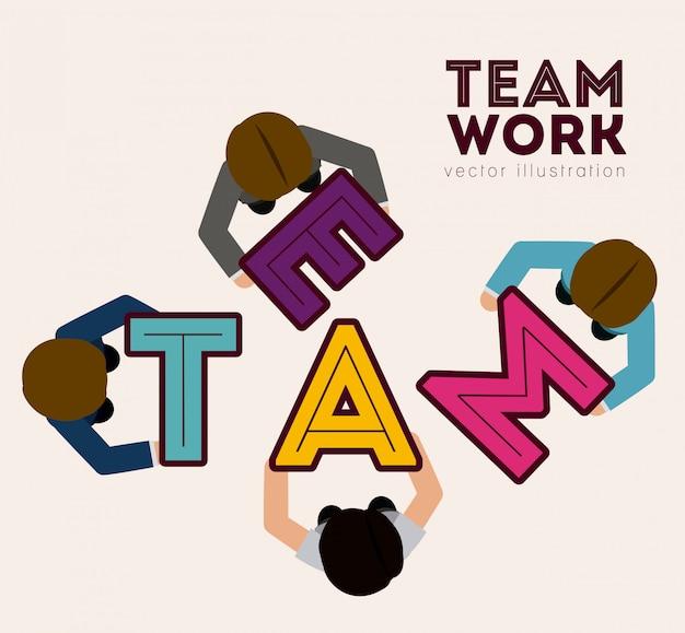 Conception du travail d'équipe, illustration vectorielle. Vecteur Premium