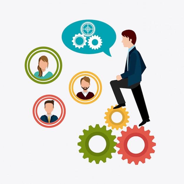Conception du travail en équipe. Vecteur Premium