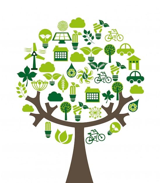 Conception de l'écologie au cours de l'illustration vectorielle fond blanc Vecteur Premium