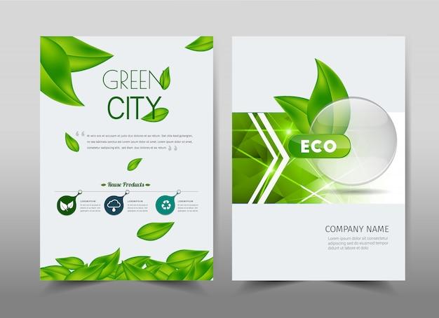 Conception de l'écologie verte sur le fond. livret au format a4. Vecteur Premium