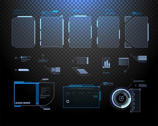 Conception D'écran D'interface De Vecteur Futuriste Hud. Titres De Légendes Numériques. Vecteur Premium
