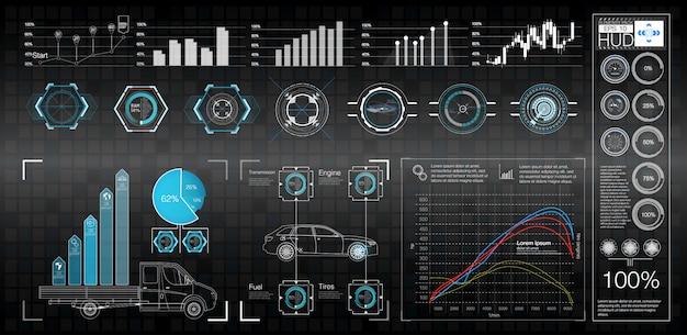 Conception D'écran D'interface De Vecteur Futuriste Hud. Vecteur Premium