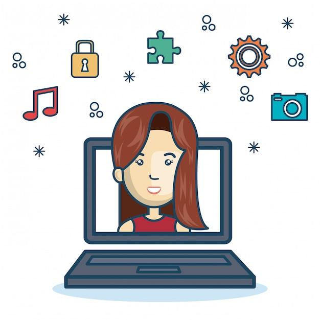 Conception d'écran d'ordinateur portable fille de dessin animé Vecteur Premium