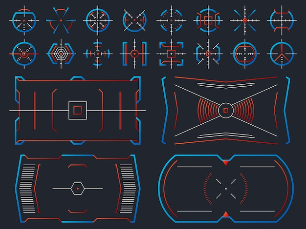 Conception d'écran virtuel de haute technologie futuriste. panneau de hud de systèmes informatiques avec suivi vectoriel de cadres de visée Vecteur Premium