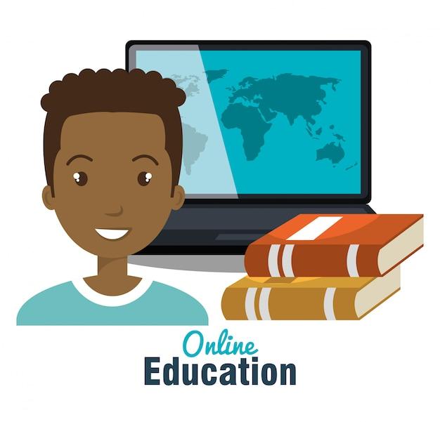Conception de l'éducation à distance Vecteur Premium