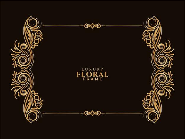 Conception élégante De Cadre Floral Doré Vecteur gratuit