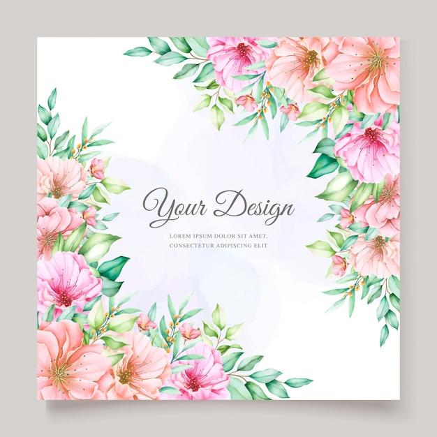 Conception élégante D'invitation De Mariage Floral Aquarelle Vecteur gratuit