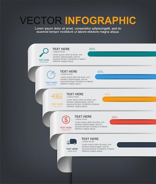 Conception d'éléments infographiques avec 5 options Vecteur Premium