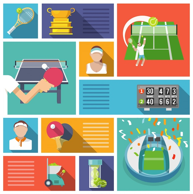 La conception des éléments de tennis Vecteur gratuit