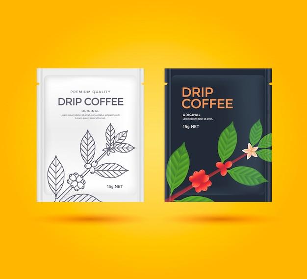 Conception de l'emballage pour le café filtre. paquet de modèle de vecteur. illustration de style de ligne branche de café. Vecteur Premium