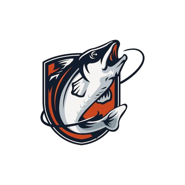 Conception D'emblème De Logo De Pêche Isolé Sur Blanc Vecteur Premium