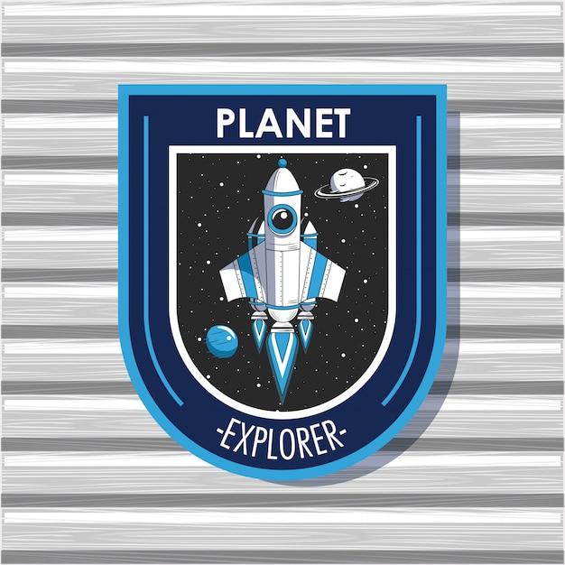 Conception d'emblème de patch d'explorateur spatial Vecteur gratuit