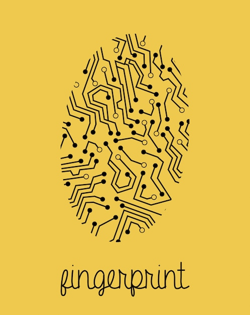 Conception d'empreintes digitales sur fond jaune Vecteur Premium