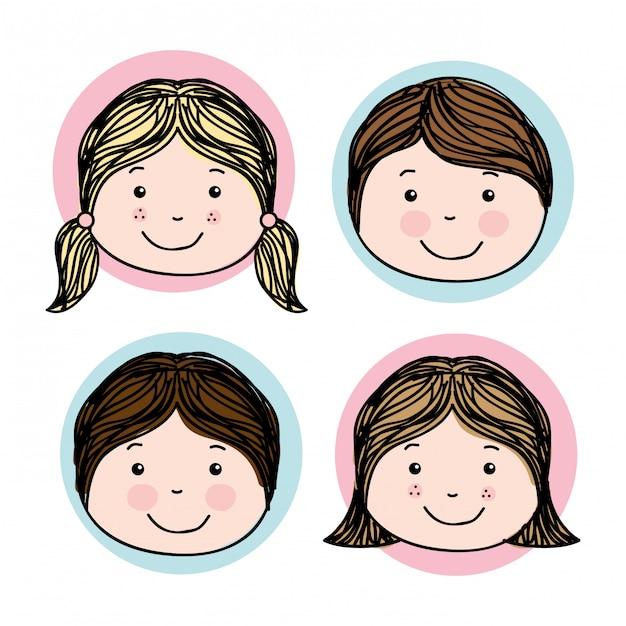 Conception d'enfants au cours de l'illustration vectorielle fond blanc Vecteur Premium