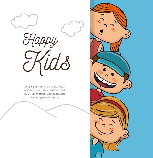 Conception d'enfants heureux Vecteur Premium