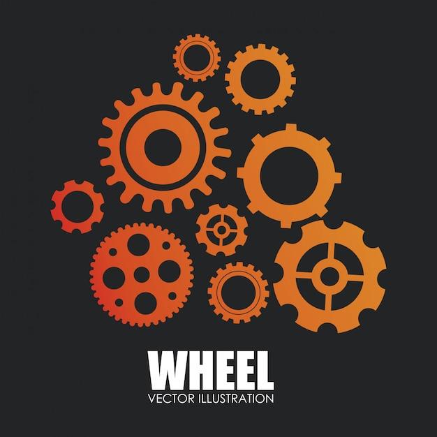 Conception d'engrenages sur l'illustration vectorielle fond blanc Vecteur Premium