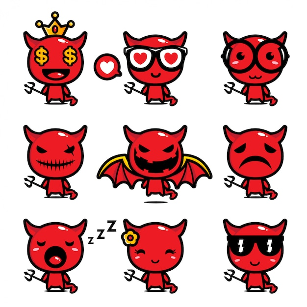 Conception De L'ensemble De Mascotte Du Diable Vecteur Premium