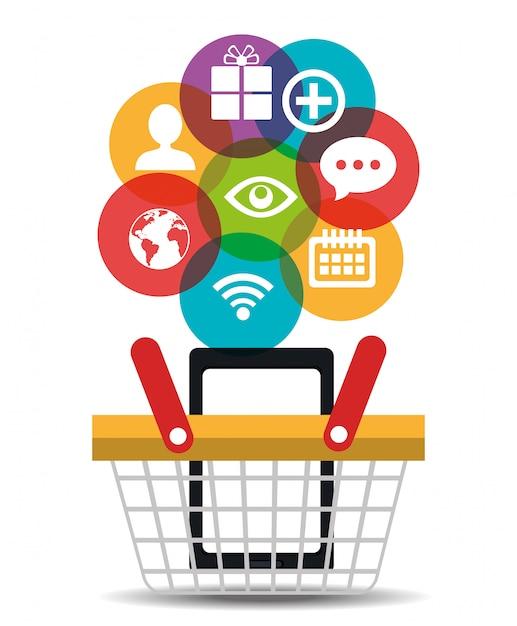 Conception d'entreprise de marketing numérique. Vecteur Premium