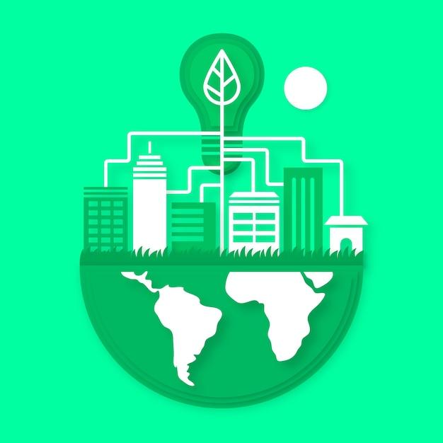 Conception Environnementale Dans Le Style Du Papier Vecteur gratuit