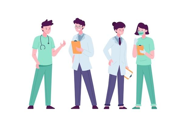 Conception D'une équipe De Professionnels De La Santé Vecteur Premium
