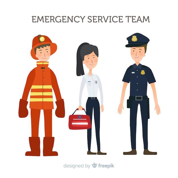 Conception d'équipe d'urgence à plat Vecteur gratuit