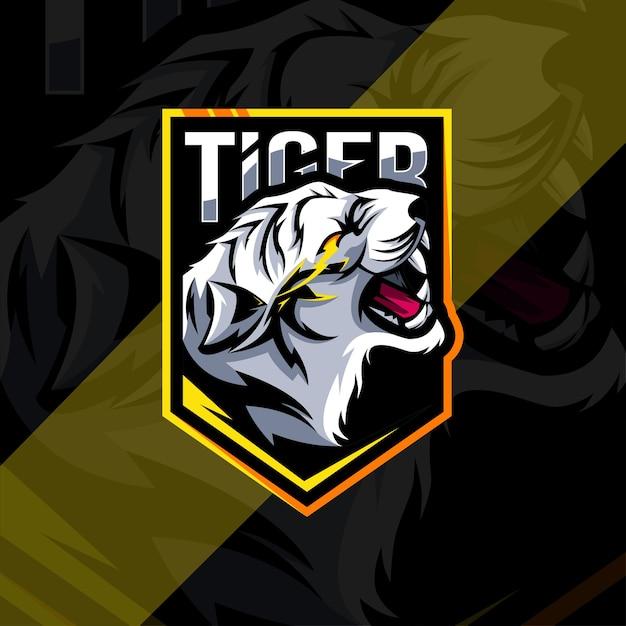 Conception D'esport Logo Mascotte En Colère Blanche Tigre Vecteur Premium