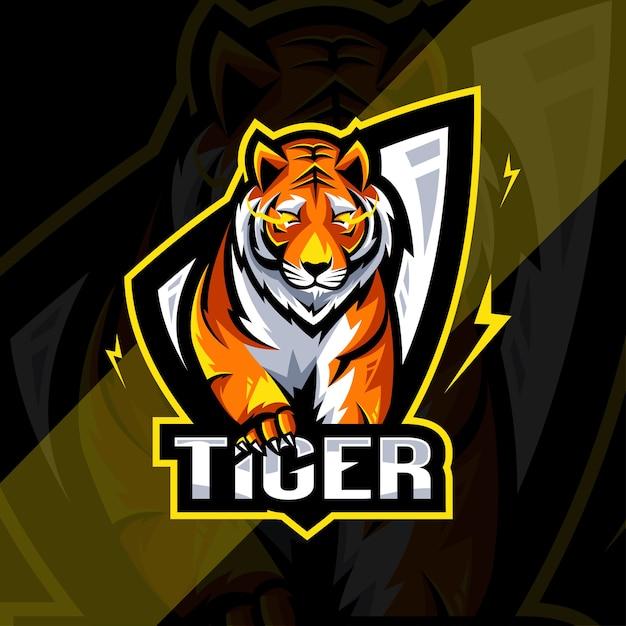 Conception D'esport Logo Mascotte En Colère Tigre Vecteur Premium