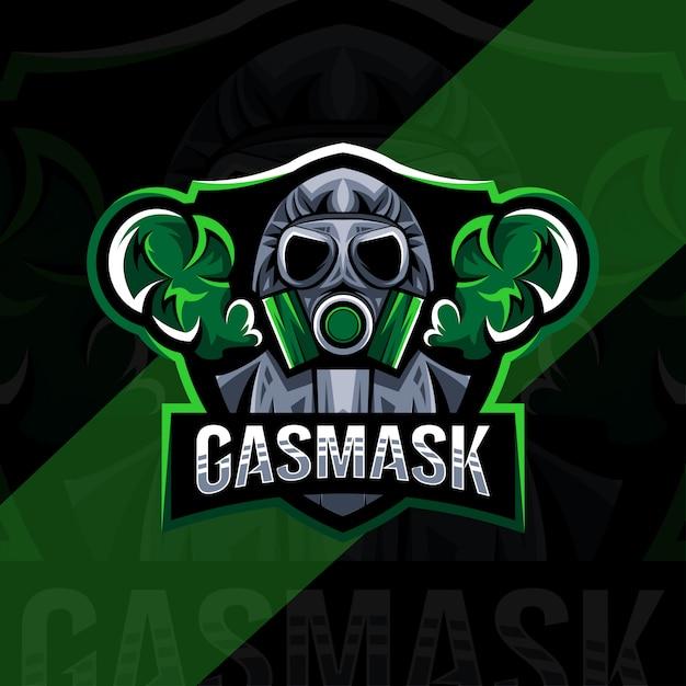 Conception D'esport De Logo De Mascotte De Masque De Gaz Vecteur Premium