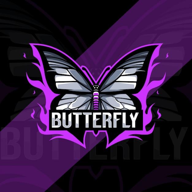 Conception D'esport Logo Mascotte Papillon Vecteur Premium