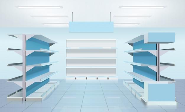 Conception d'étagères de supermarchés vides Vecteur gratuit
