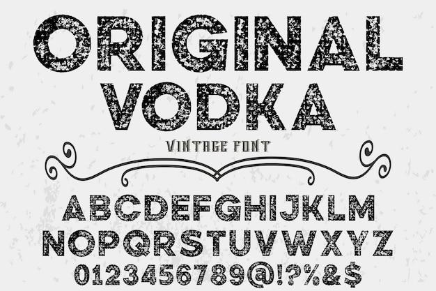 Conception De L'étiquette Vintage Alphabet Vodka Originale Vecteur Premium