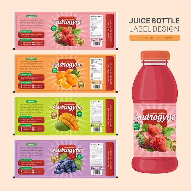 Conception d'étiquettes de bouteille de jus Vecteur Premium
