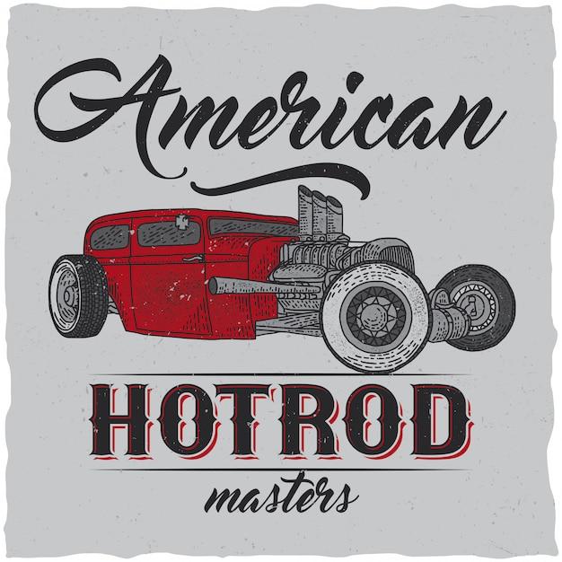Conception D'étiquettes De T-shirt Vintage Hot Rod Avec Illustration De Voiture De Vitesse Personnalisée. Illustration Dessinée à La Main. Vecteur gratuit