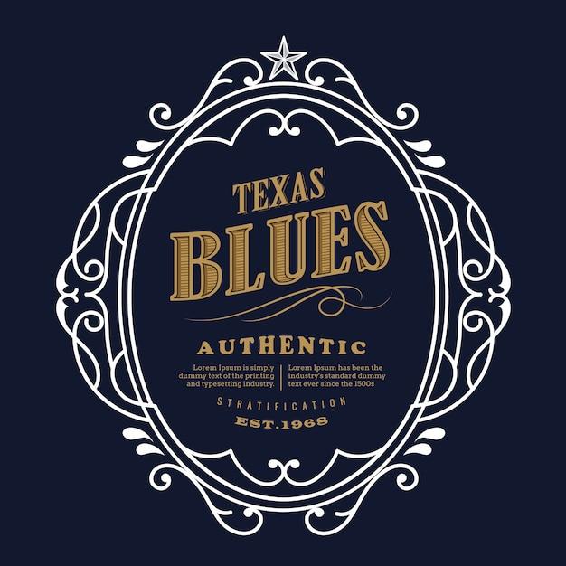 Conception D'étiquettes Vintage Texas Blue Vecteur Premium