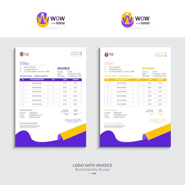 Conception De Facture Fraîche Avec Logo, Image De Marque Vecteur Premium