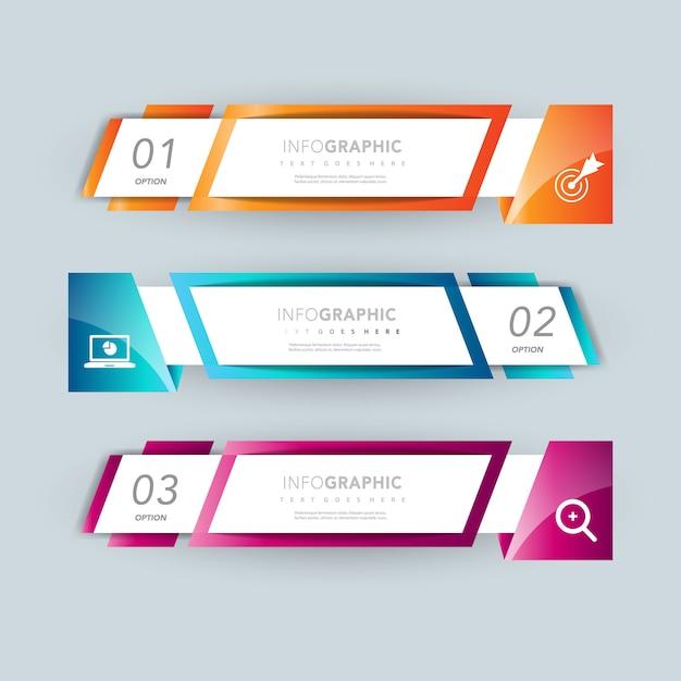Conception facultative de présentation de bannière infographique Vecteur gratuit