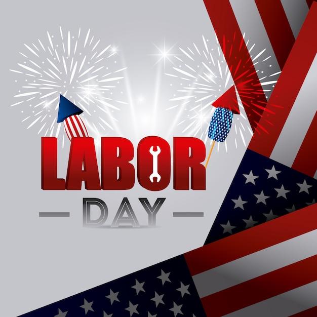 Conception de la fête du travail aux états-unis. Vecteur gratuit