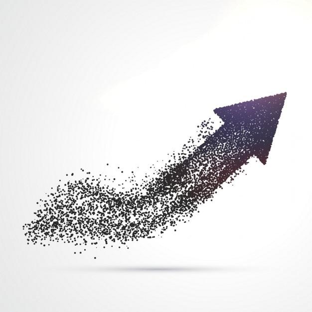 Conception de flèche abstraite faite avec des particules Vecteur gratuit