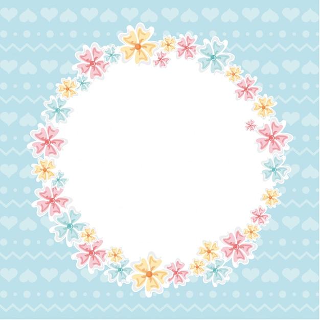 Conception de fleurs au cours de l'illustration vectorielle fond bleu Vecteur Premium