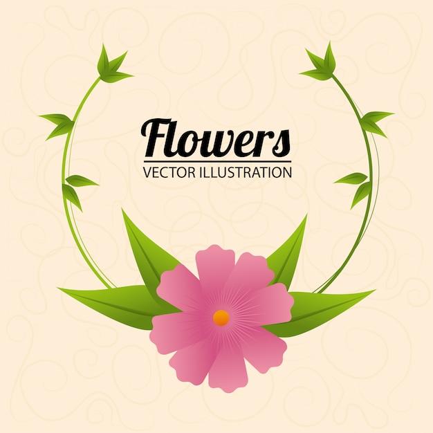 Conception de fleurs sur illustration beige Vecteur gratuit