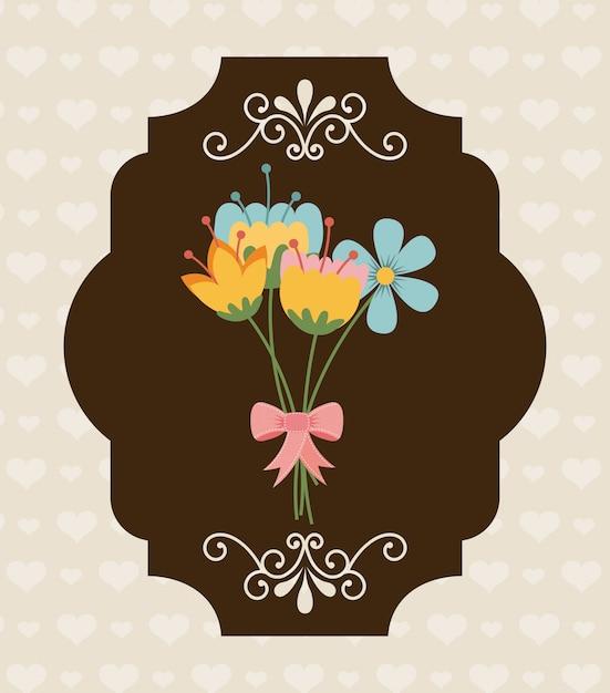 Conception de fleurs sur l'illustration vectorielle de fond modèle Vecteur Premium
